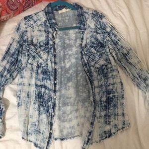 Blue acid wash flannel button down love stich